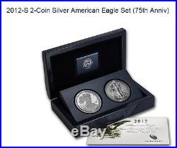 (10) 2012 S 75th Anniversary Silver Eagle Sets Sealed Us Mint Box First Strike