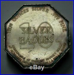 10 OZ 999 Silver OCTAGONAL BAR ROUND 1969 TEN SILVER EAGLES NEST WALLA WALLA, WA