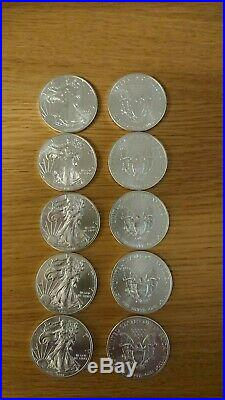 10 x American silver Eagles 1 oz. 999 coins