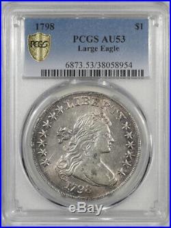 1798 Draped Bust Dollar Large Eagle Pcgs Au-53