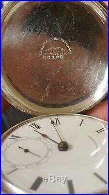 1866 18s Waltham Wm Ellery 1857 Key Wind Hunter Eagle Coin Silver Pocket Watch