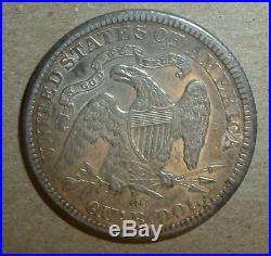 1875 CC Seated Liberty QUARTER AU & Lighted Toned w Sheen Striking Eagle. 99 NR