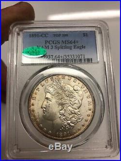 1891-CC Spitting Eagle TOP 100 PCGS MS64+ CAC Silver MORGAN Dollar VAM 3