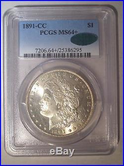 1891-CC Spitting Eagle TOP 100 PCGS MS64+ PLUS CAC Silver MORGAN Dollar VAM 3