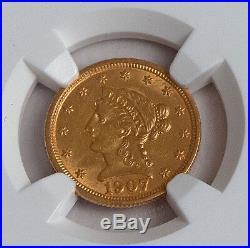 1907 GOLD Liberty $2.5, Coronet Quarter Eagle, NGC MS 62 Philadelphia Mint