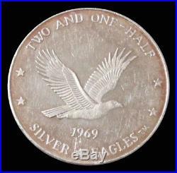 1969 Silver Walla Walla American Eagle 2 1/2 Oz. 999 Fine Round Bar Ingot