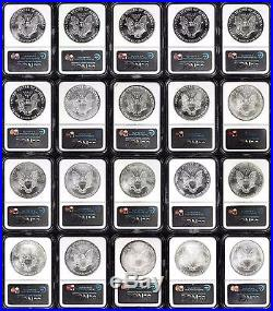 1986-2005 20-Coin Silver American Eagle Set MS-69 NGC