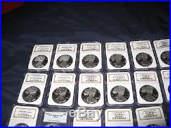 1986-2005 Silver Eagle 20 Coin Proof Set Graded PF69 Ultra Cameo Collection