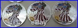 1986-2006 Colorized American Silver Eagles 20- 1 oz. Pure Silver Including 1996