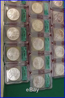 1986 2007 Silver Eagle Set MS69 Certified by ICG Nice Wooden box 22 coins