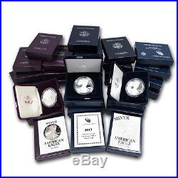 1986-2015 AMERICAN SILVER EAGLE GEM PROOF IN ORIGINAL U. S. MINT PACKAGING WithCOA