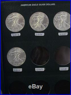1986-2016 Complete 31 Coin Silver Eagle Set in Album B. U. Condition