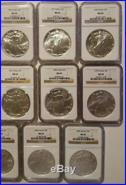 1986-2017 Silver American Eagle Set MS 69 Complete Set