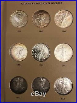 1986-2018 American Silver Eagle Complete Set In Dansco Album 33 Coins Unc