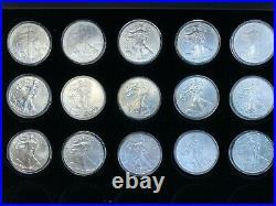 1986-2021 American Silver Eagle Set, 36 OZ of Silver, Sleek Wooden Display Case