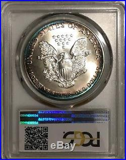 1986 American Silver Eagle PCGS MS68 Vibrant Blue Halo Toned 2 Sided Toning