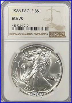 1986 Ngc Ms70 Silver American Eagle Mint State 1 Oz. 999 Fine Bullion
