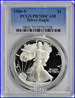 1986-S American Silver Eagle PCGS PR70DCAM