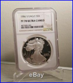 1986 S Silver Eagle Proof PF 70 Ultra Cameo! First Year of Issue! Flawless