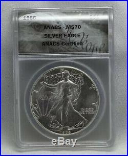 1986 Silver Eagle ANACS MS70