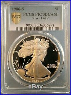1986-s American Eagle Silver Dollar Pcgs Pr70dcam