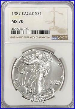 1987 Ngc Ms70 Silver American Eagle Mint State 1 Oz. 999 Bullion