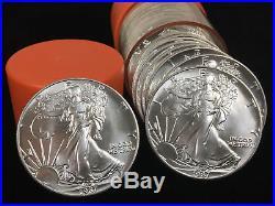 1987 Roll BU American Silver Eagles ORIGINAL GOV'T ORANGE TUBE (20 pc) AC RARE