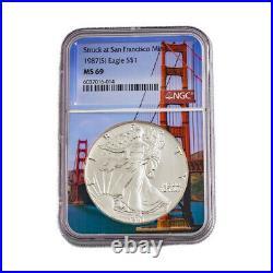 1987 S American Silver Eagle NGC MS69 San Francisco Bay Bridge Core