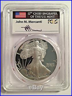 1987-S Silver Eagle PCGS PR70 Mercanti Signature