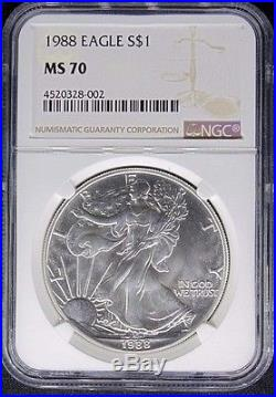 1988 American Silver Eagle Dollar Coin $1 Ngc Certified Ms 70 Mint State (002)