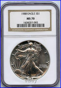 1988 American Silver Eagle $1 NGC MS 70 Bright And White