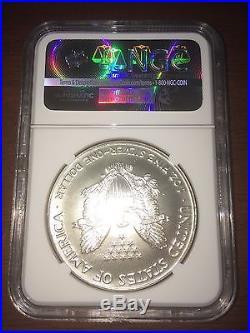 1990 USA $1 Silver Eagle OBVERSE STRUCK THRU MINT ERROR MS 69 NGC Coin