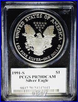 1991-S $1 1 oz. RARE Proof American Silver Eagle PCGS PR70 DC Mercanti Signature