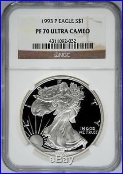 1993-P NGC PF70 Ultra Cameo Proof Silver Eagle
