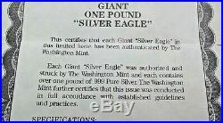 1994 Giant Rare Eagle Proof Coin Over A Pound 17.1 Avdp. 999 Silver Coin Coa