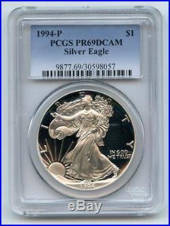 1994 P $1 Proof American Silver Eagle 1oz PCGS PR69DCAM