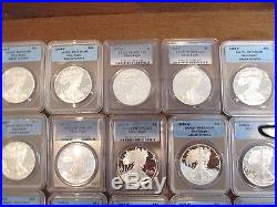 1995-2015 PR70DCAM Silver Eagle Proof Coin Collection 20 All Graded PF70DCAM