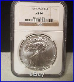 1995 American Silver Eagle $1 Coin Ngc Ms70 / Beautiful / No Milk Spots