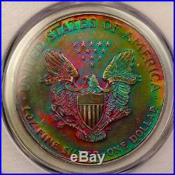1995 American Silver Eagle PCGS MS63 Monster Rainbow Toning