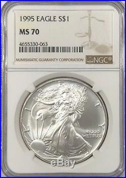 1995 Ngc Ms70 Silver American Eagle Mint State 1 Oz. 999 Fine Bullion