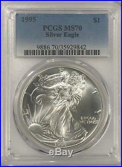 1995 Pcgs Ms70 Silver American Eagle Mint State 1 Oz. 999 Fine Bullion