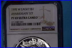 1995 W Proof American Silver Eagle 1oz NGC Graded PF69 Ultra Cameo (P74)