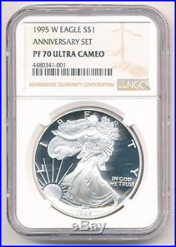 1995-w Proof Silver Eagle Ngc Pf 70 Ultra Cameo Anniversary Set