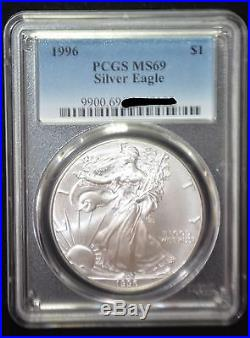 1996 PCGS MS69 Silver AMERICAN EAGLE ASE beautiful coin