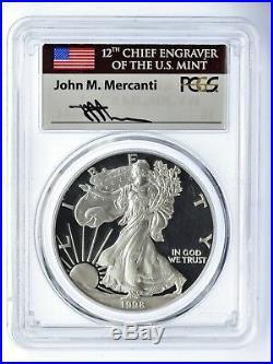 1998-P $1 1oz Proof Silver Eagle PR70DCAM PCGS Mercanti Flag