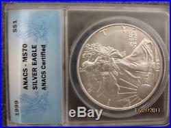 1999 Ms-70 Lady Liberty Silver Eagle Dollar 1 Troy Oz. Rare Pop 65 Of 7,480,000