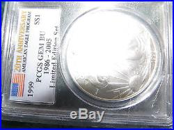 1999 Pcgs Gem Bu Lady Liberty Silver Eagle Dollar 1 Oz Very Very Very Rare