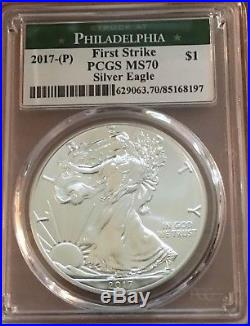 $1 2017 (P)Silve Eagle PCGS MS70 First Strike 2nd Lowest Mintage & POP 167