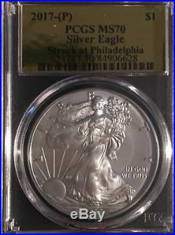 $1 2017(P) Silver Eagle PCGS MS70 Gold Foil 1 Of 109 On Sale Now
