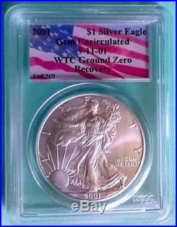1 Of 269 2001 WTC Gem American Silver Eagle PCGS World Trade Center Recovery GEM